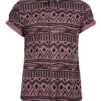Burgundy Black Aztec Print Short Sleeve Shirt