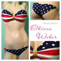 Sexy American flag bikini low rise Padded push up by oksanaweber
