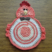 Crochet Country Farm CHICKEN POT HOLDER Handmade orange white brown