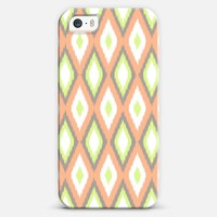 Peach and Green Ikat Pattern iPhone 5s case by Organic Saturation | Casetagram