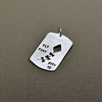 Fly away with me kite themed sterling silver pendant