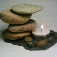 Rock Tealight Candle Holder by DeerwoodCreekGifts on Etsy