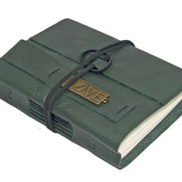 Green Leather Journal with Love Bookmark