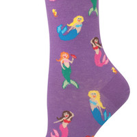 Women's Novelty Crew Socks From Socksmith Designs - Mermaids