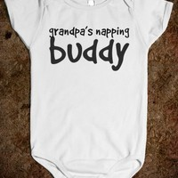 grandpa's napping buddy baby one piece t-shirt-White Baby Onesuit 00