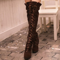 Women Lace-up Faux Suede High Heels Platform Round Toe Shoes Over Knee Boots 1kn