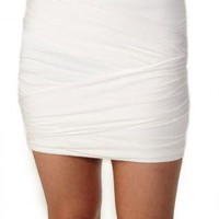 White Mini Skirt - White Stretch Mini Skirt with | UsTrendy