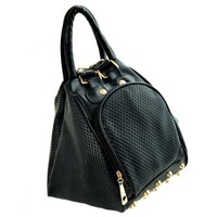 Black Metallic Studded Hobo Tote Handbag Shoulder Bag Backpack