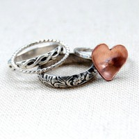 Rustic Romance  Sterling Silver Stacking by MintyFreshFusions