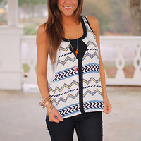 Line Up Aztec Tank, Ivory/Blue