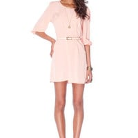 Sera Belted Zip Dress in Peach :: tobi