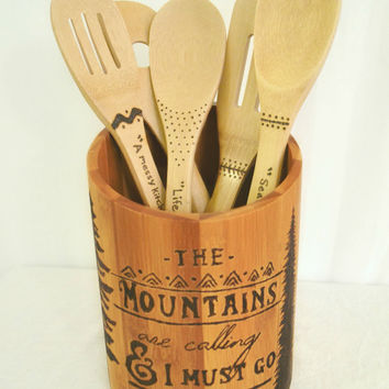 Engraved Kitchen Utensil Holder/ Bamboo Wood/ Woodburned/ Housewarming Gift/ Wedding Gift/ Mountain Quote/ The Mountains Are Calling/ Rustic