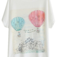 ROMWE Fire Balloon & Letters Print White T-shirt