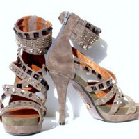 Gray Suede Strappy Gladiator Stiletto Shoes with Stud Detail