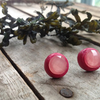Salmon Faceted Rhinestone Stud Earrings on Deep Fuchsia Polymer Clay Posts