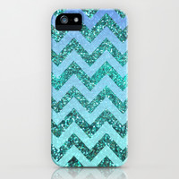 glittery ocean chevron iPhone & iPod Case by Hannah