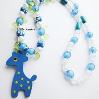 Girls Gifts Blue Yellow Wood Giraffe Necklace Colorful Bright Sweet | LittleApples - Children's on ArtFire