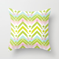 Spring Chevron Throw Pillow by Ally Coxon