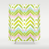 Spring Chevron Shower Curtain by Ally Coxon