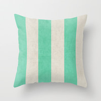 vintage mint stripes Throw Pillow by her art