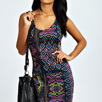 Jesi Aztec Print Vest Dress