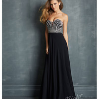 Night Moves by Allure 2014 Prom Dresses - Black Chiffon & Silver Micro Bead Prom Gown