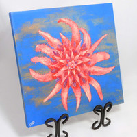 Flower Painting, Original Canvas Art, Bright Colorful Painting, Blue Orange Red Coral Wall Art, Sea Flower, Texture, Square Canvas, Gift