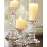 CLEAR GLASS SQUARE BASE PILLAR HOLDERS