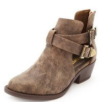 CUT-OUT BELTED ANKLE BOOTIES