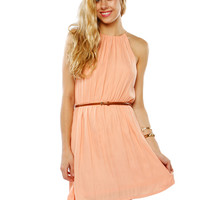 Papaya Clothing Online :: BELTED NECK PLEATS DRESS