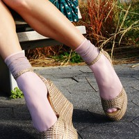 Shimmering Sheer Top Ankle Socks