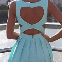 Mint Green Vintage Back Heart Cut Out Mini Dress Sleeveless Zip Back Closure