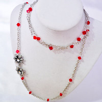Flower Poinsetta Long multistrand silver chain with red crystal bead