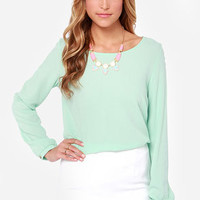 Blouse Hunting Long Sleeve Mint Green Top