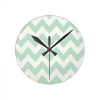 Light Green Chevron Clock