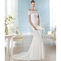 Glaring Off The Shoulder Sweep Mermaid Satin Wedding Dress