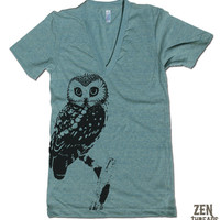 Unisex Urban OWL Deep V-Neck T Shirt american apparel XS S M L (10 Color Options)