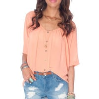 Batty Button Down Top in Peach :: tobi