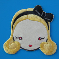Iron-on Embroidered Patch Blonde Hair 3 inch