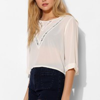 Pins And Needles Lace-Inset Cropped Blouse - Urban Outfitters