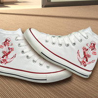 Hand Painted Anchor Design Converse Shoes
