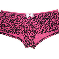 Large Pink Leopard Print Bow Boy Short Womens Underwear