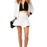 Textured Flounce Skirt in White