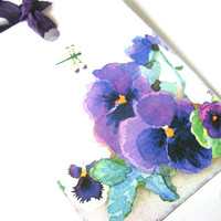 Purple Pansies And Yellow Daffodils Gift Tags Set of 6 Spring Flower Garden