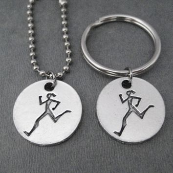 RUNNER GIRL Round Pendant Key Chain / Bag Tag - Choose 4 inch Ball Chain or Round Key Ring - Available only at The Run Home - Run Key Chain