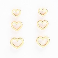 HEART STUD EARRINGS (3 PAIRS)