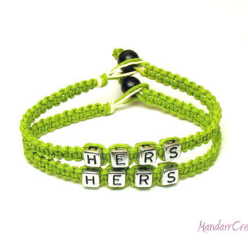 Hers and Hers Bracelet Set, Lime Green Macrame Hemp Jewelry for Couples or Best Friends, Made to Order