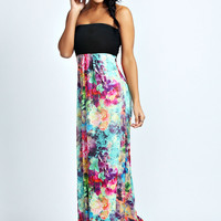 Amelia Contrast Top Floral Print Maxi Dress