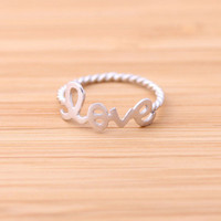 love ring with twisted ringline, silver | bythecoco