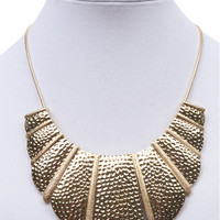 Hammered Metal Plates Bib Necklace | Wet Seal